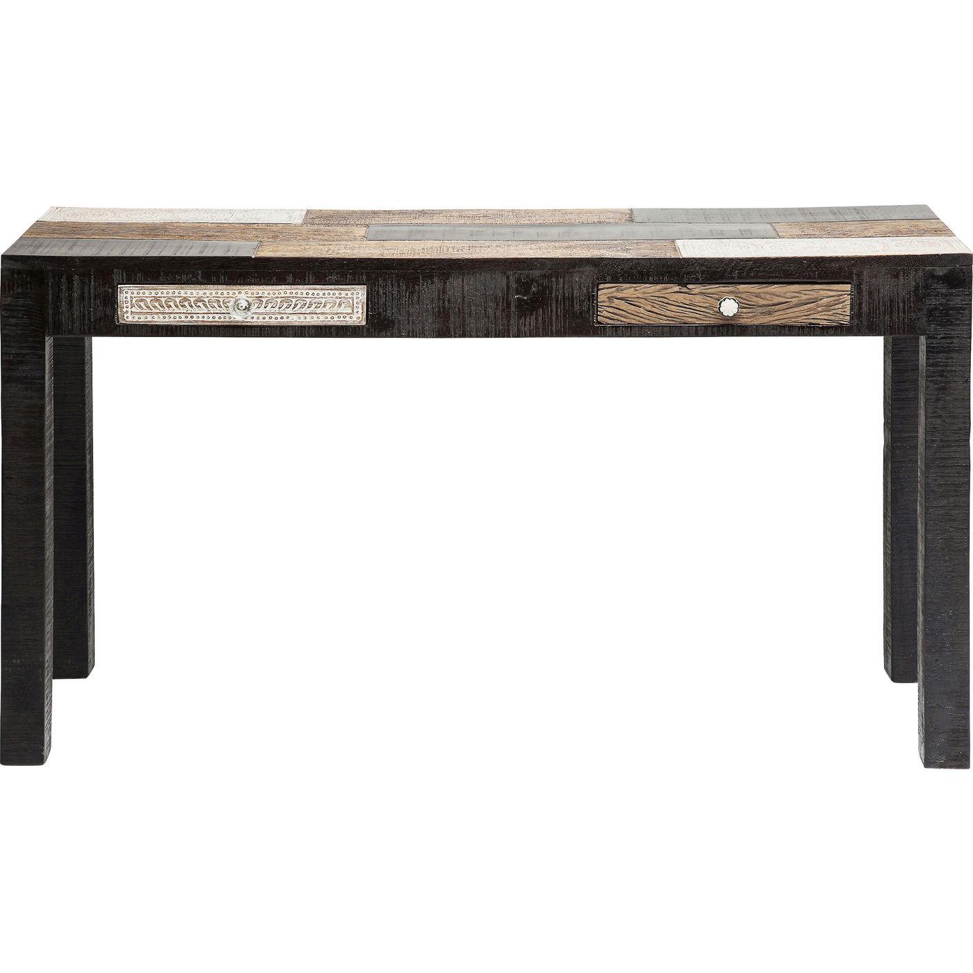 KARE DESIGN Finca konsolbord – brunt/sort/hvidt træ, m. 2 skuffer (135×40)