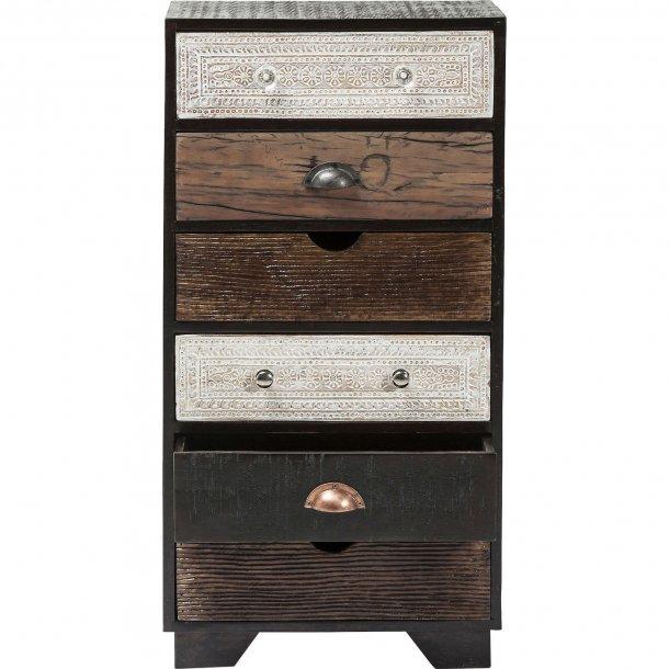m rkebrun kommode med seks skuffer og flotte greb. Black Bedroom Furniture Sets. Home Design Ideas