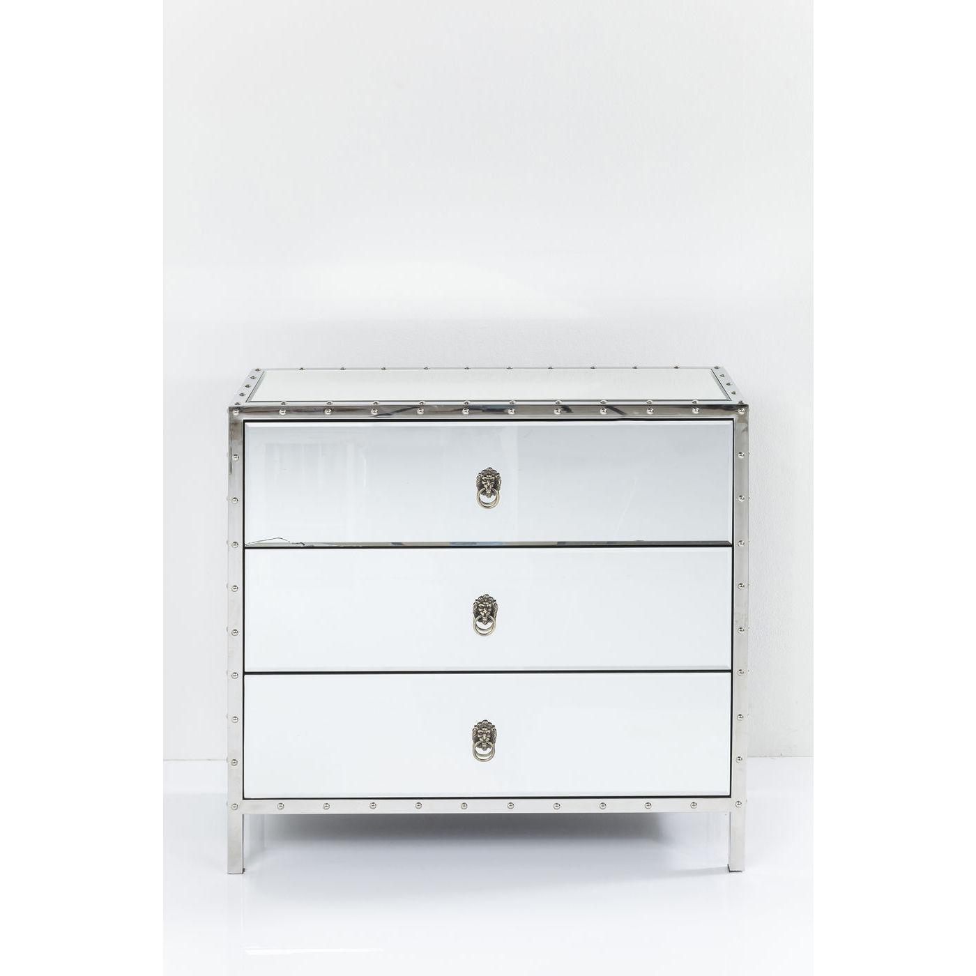 kommode rivet med 3 skuffer og flot spejlglas elegant. Black Bedroom Furniture Sets. Home Design Ideas