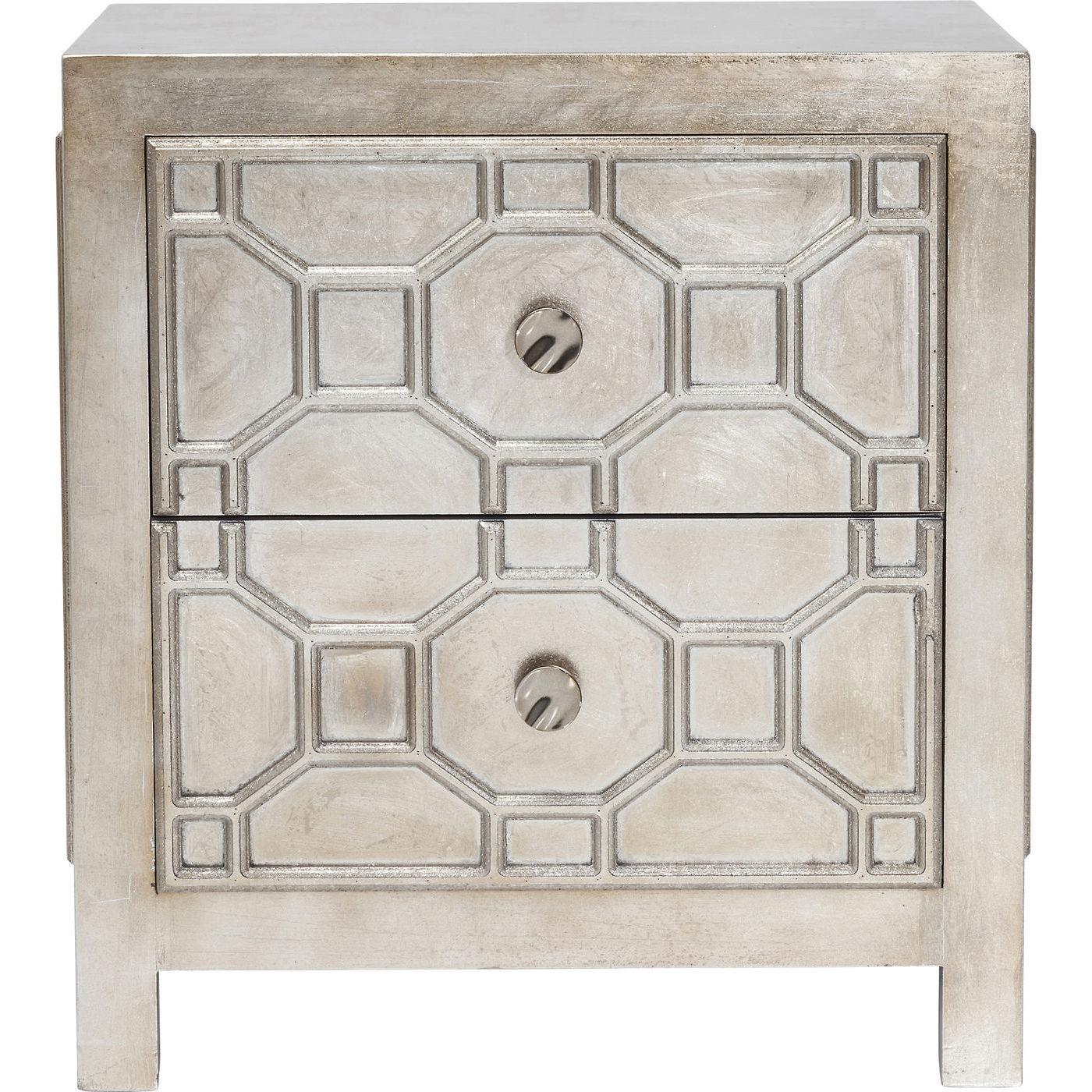 Image of   KARE DESIGN Alhambra natbord - sølv, m. 2 skuffer