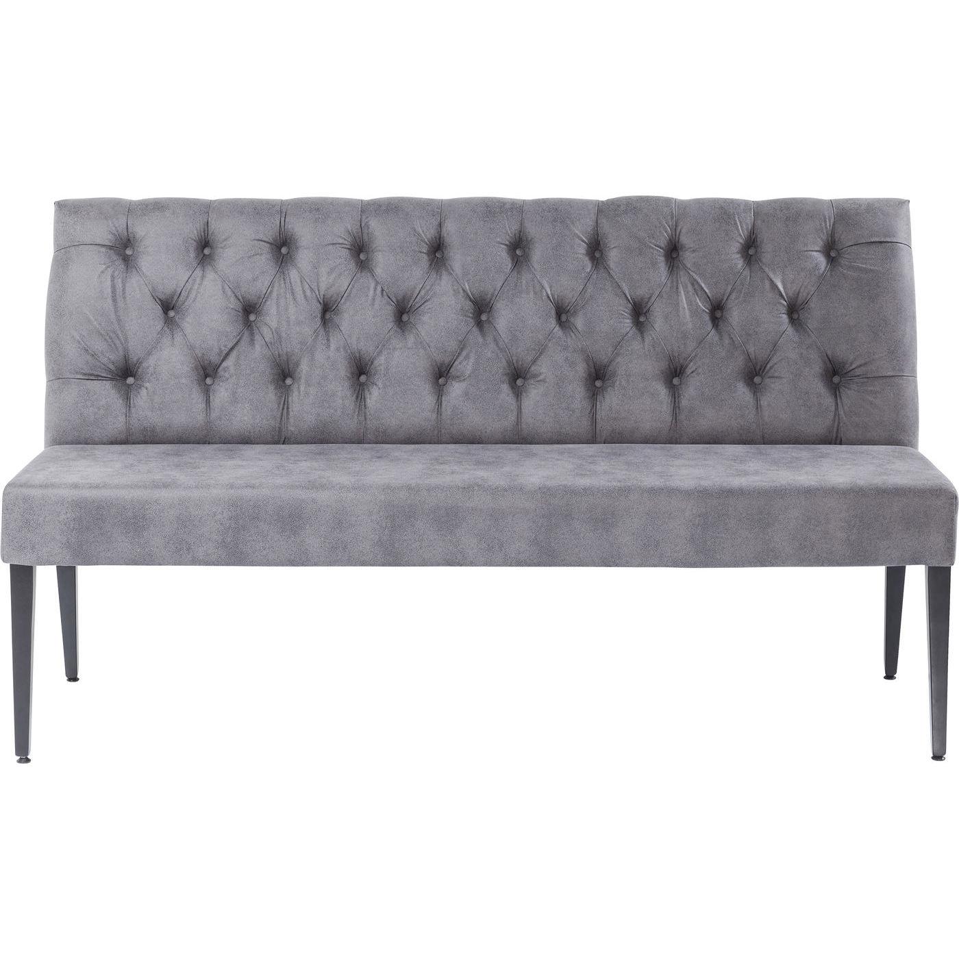 kare design – Kare design vintage grey bænk - grå stof, m. ryglæn, polstret fra boboonline.dk
