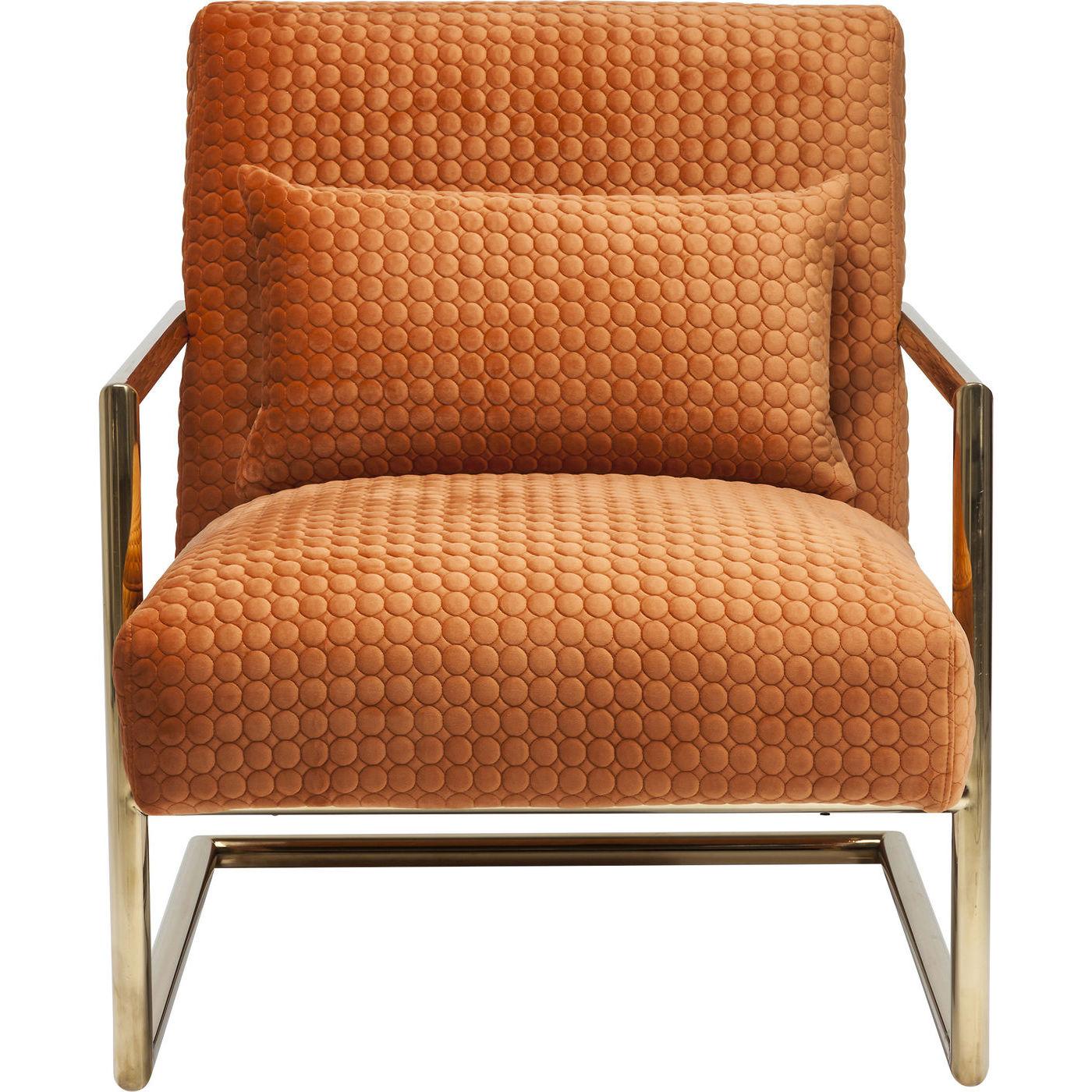 kare design Kare design living vegas hvilestol - orange stof og guld stål, m. armlæn og pude på boboonline.dk