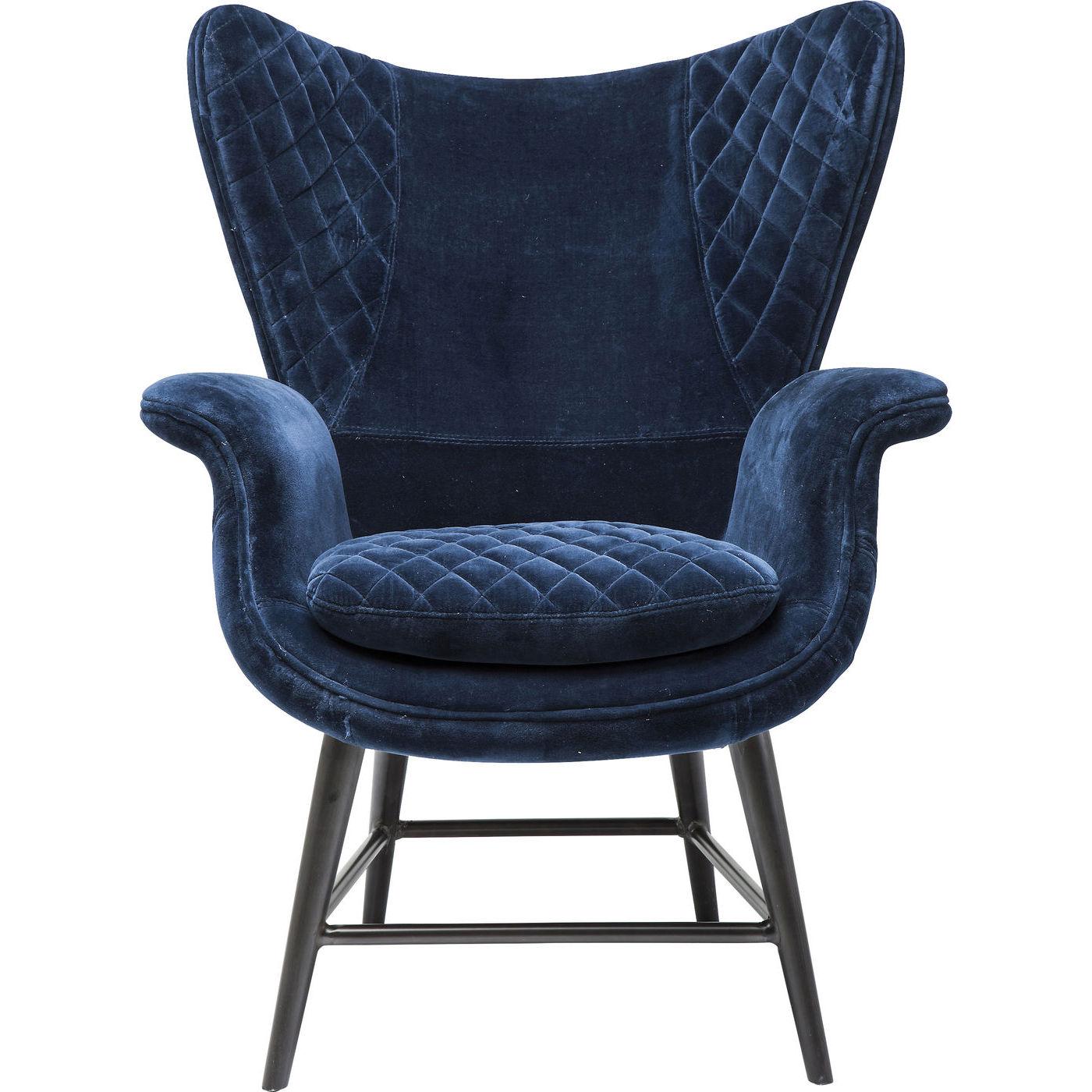 Kare design tudor blue velvet hvilestol - blå fløjl, m. armlæn fra kare design på boboonline.dk