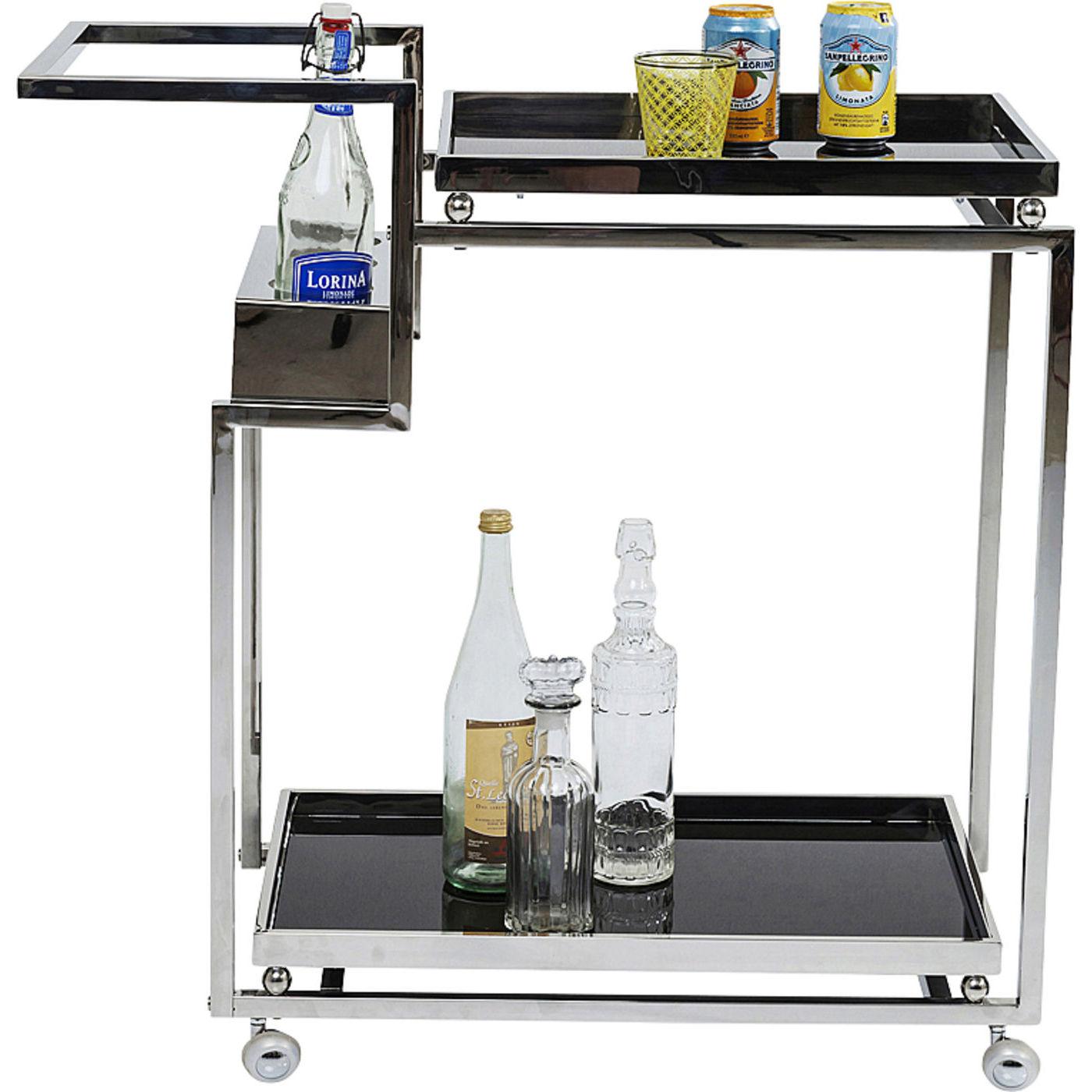 Kare design barfly silver rullebord - sølv og sort glas, m. 2 hylder og rum til 3 flasker fra kare design på boboonline.dk