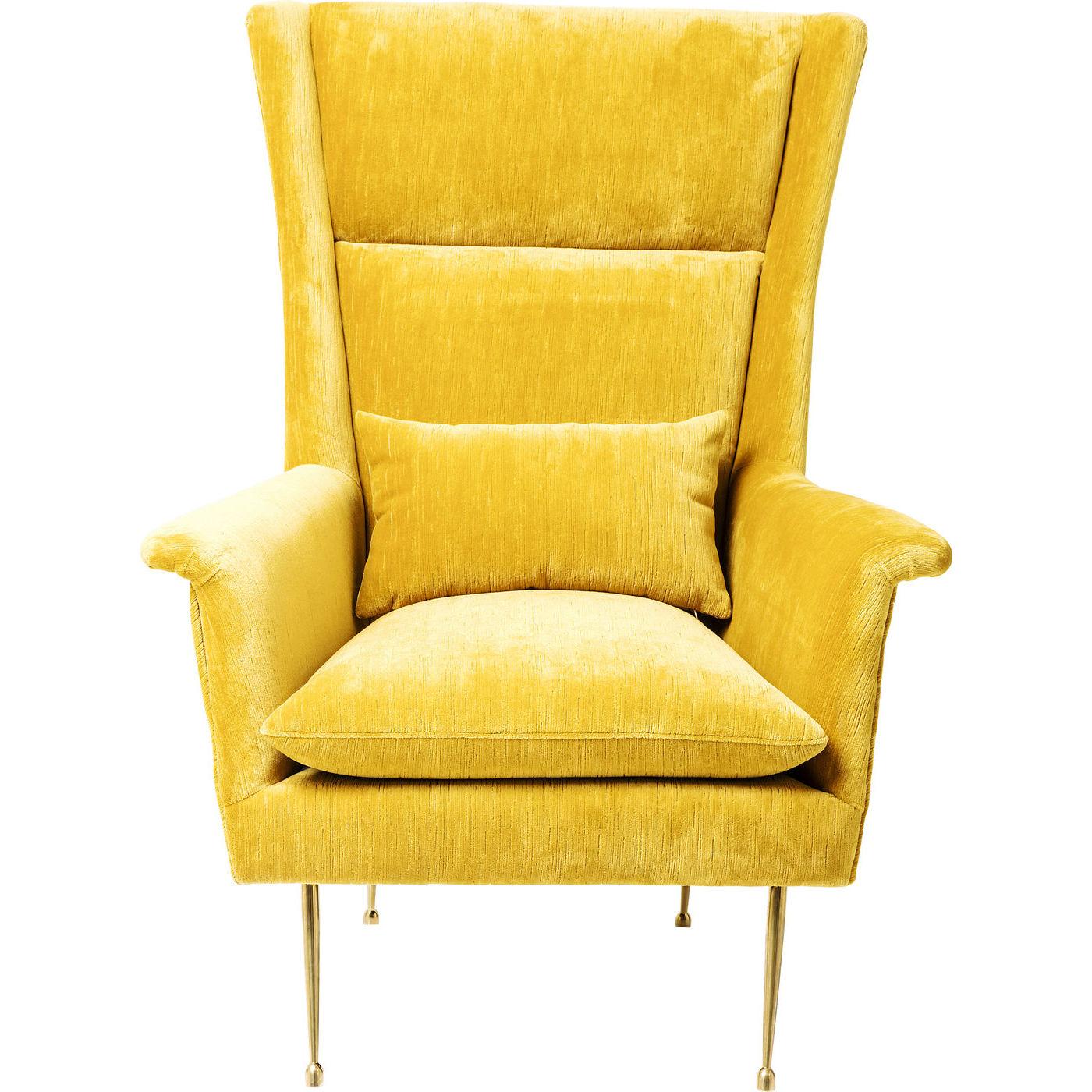 kare design – Kare design vegas forever hvilestol - gult stof, m. armlæn og pude på boboonline.dk