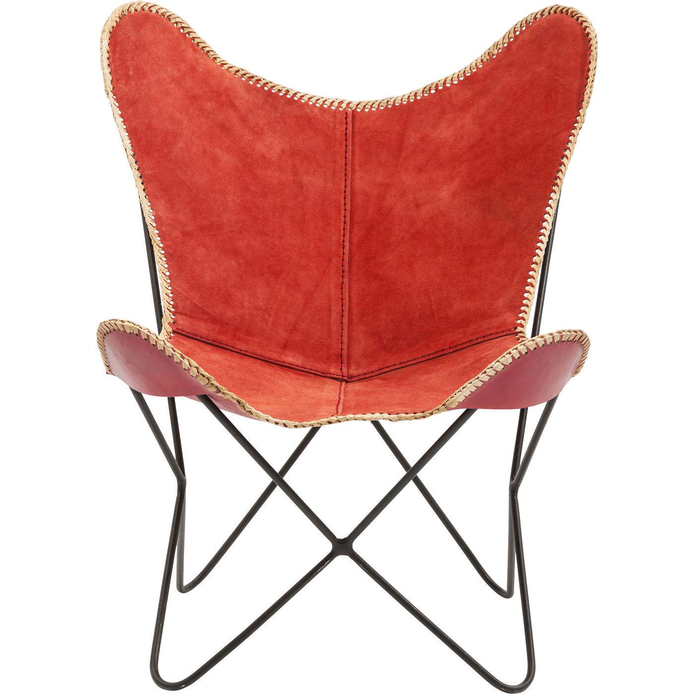 Billede af Kare Design Hvilestol m. Armlæn, Butterfly Suede Leather Red
