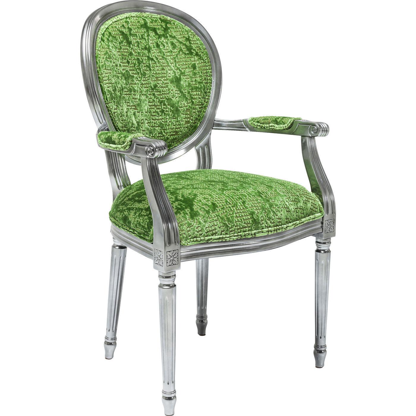 Image of   Kare Design Spisebordsstol m. armlæn, Posh Silver Green