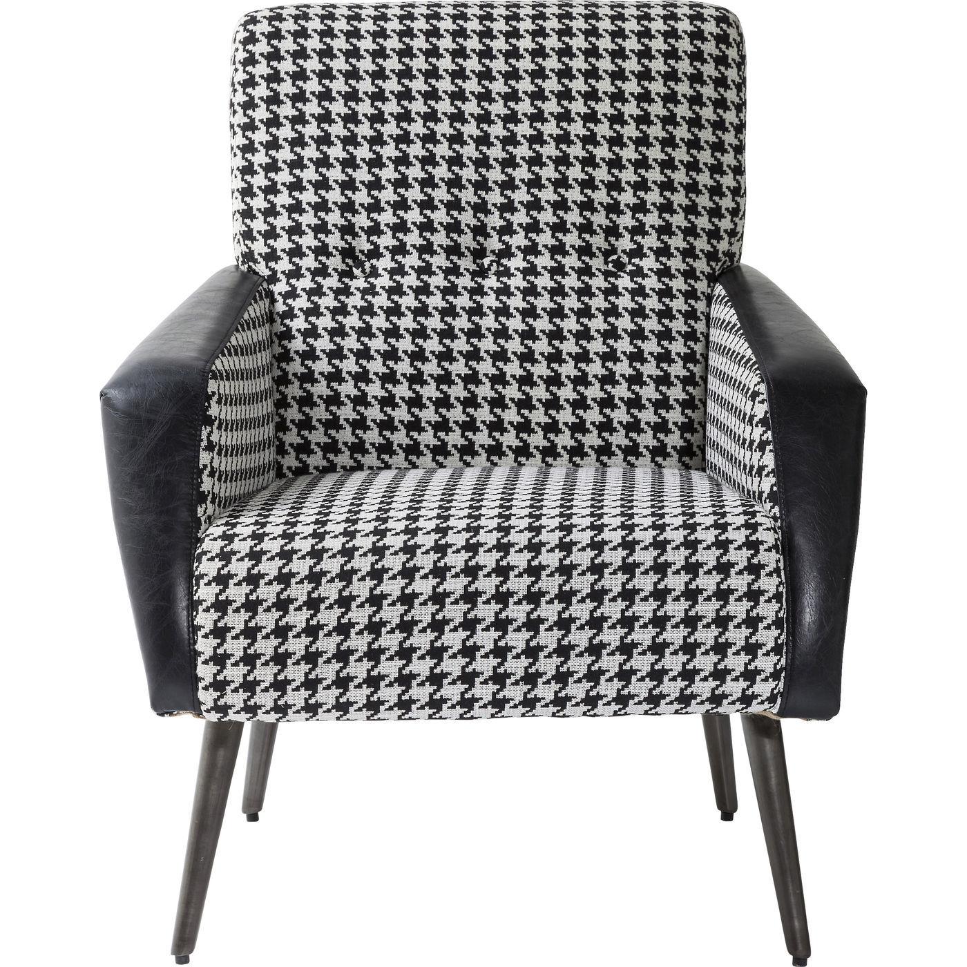 tilbud p sort hvid hvilestol i houndshooth m nster. Black Bedroom Furniture Sets. Home Design Ideas