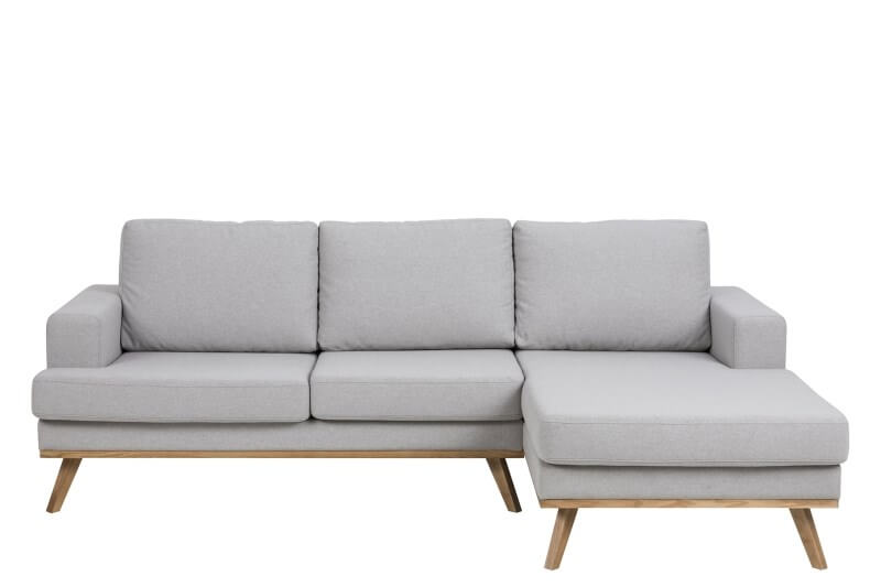 Norwich 2 pers. sofa m. chaiselong - lysegrå stof, højre chaise