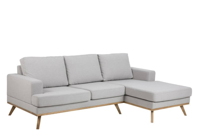 Norwich 2 pers. sofa m. chaiselong – lysegrå stof, højre chaise