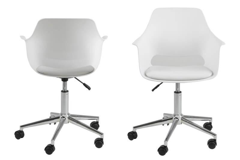 Hvid skrivebordsstol med ryglæn og armstøtte