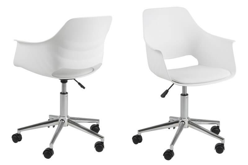Billede af Act Nordic Ramona skrivebordsstol - hvid plast m. læderhynde.