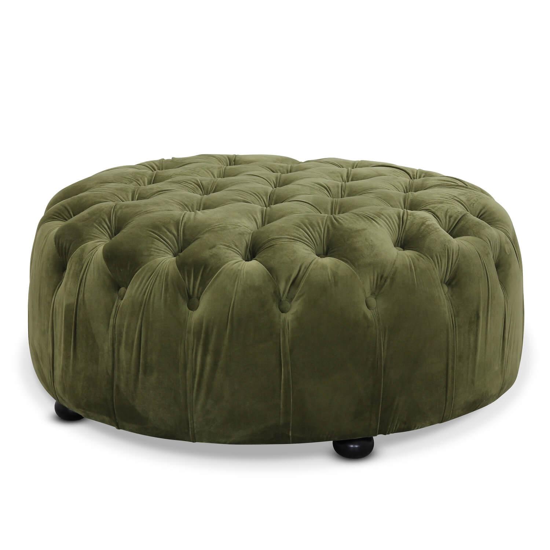 Chester puf med velour - grøn