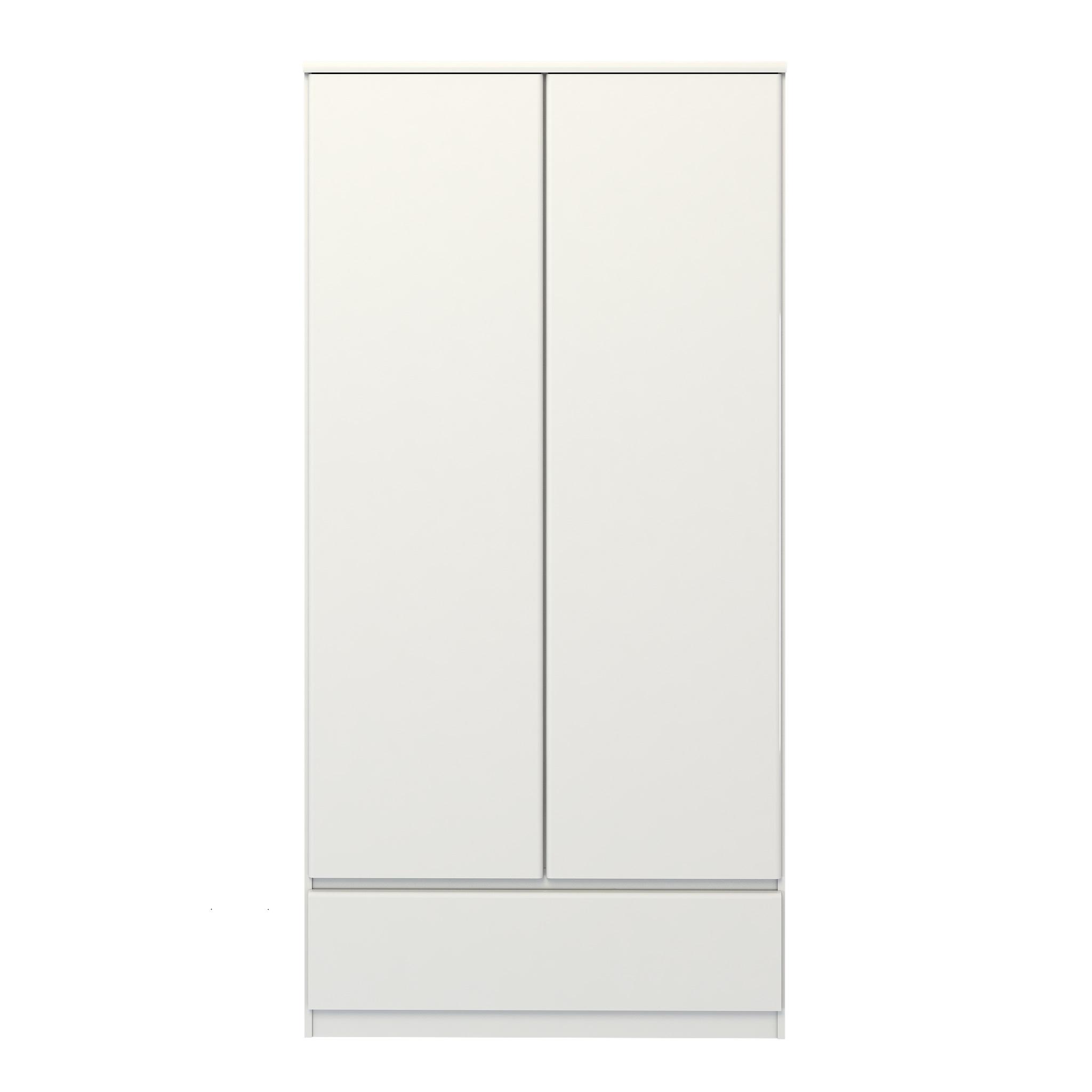 Mary Garderobeskab 2 låger + 1 skuffeHvid højglans Hvid højglans