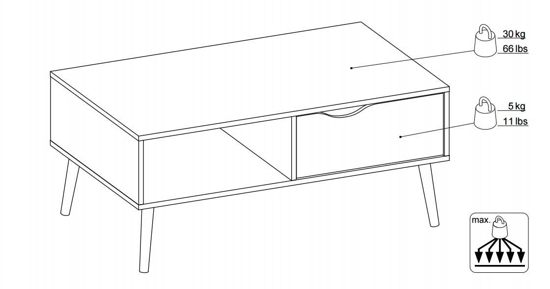 76e1f95c07a Delta hvid sofabord med sorte skrå ben og skuffe