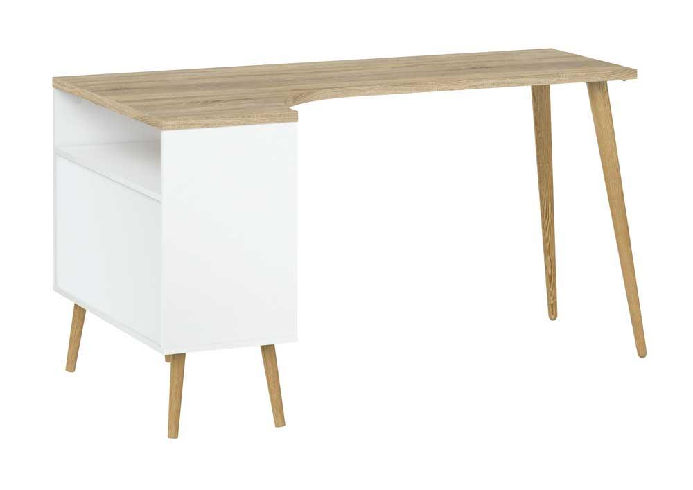 Delta Skrivebord med vinkel i hvid eg struktur