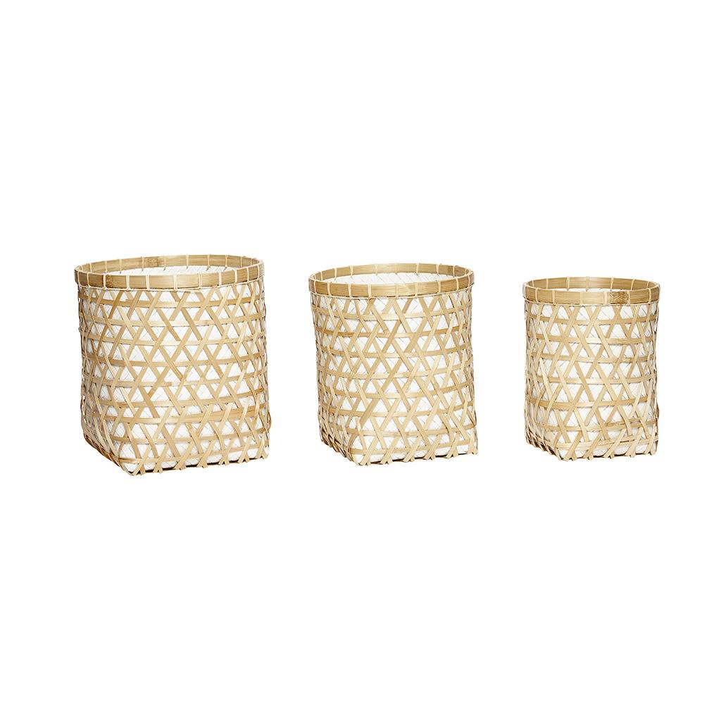 HÜBSCH Rattan/bambus kurv, natur/hvid, 3 stk.