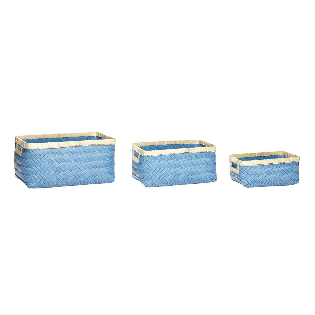Billede af Hübsch Polyrattan/bambus kurv i blå/natur, 3 stk.