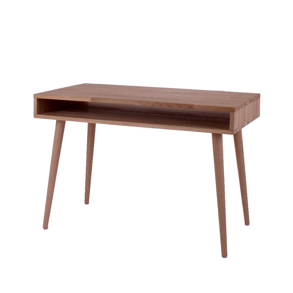 By tika new york skrivebord - naturfarvet egetræ, med 1 åben hylde, rektangulær, (72x100cm)