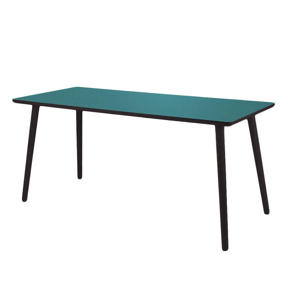 By tika grotto skrivebord - blå/sortfarvet mdf træ, højtrykslaminat, rektangulær, (73x120cm)