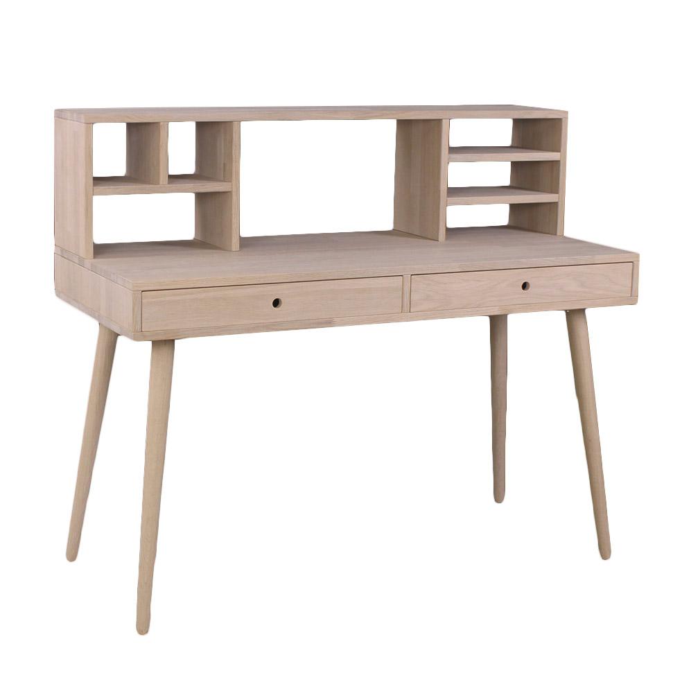 By tika orlando skrivebord - naturfarvet egetræ, m. 2 skuffer + overdel, rektangulær, (72x120cm)