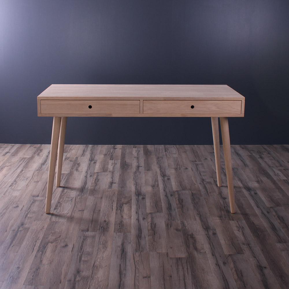 By tika chicago skrivebord - naturfarvet egetræ, m. 2 skuffer, rektangulær, (72x120cm)