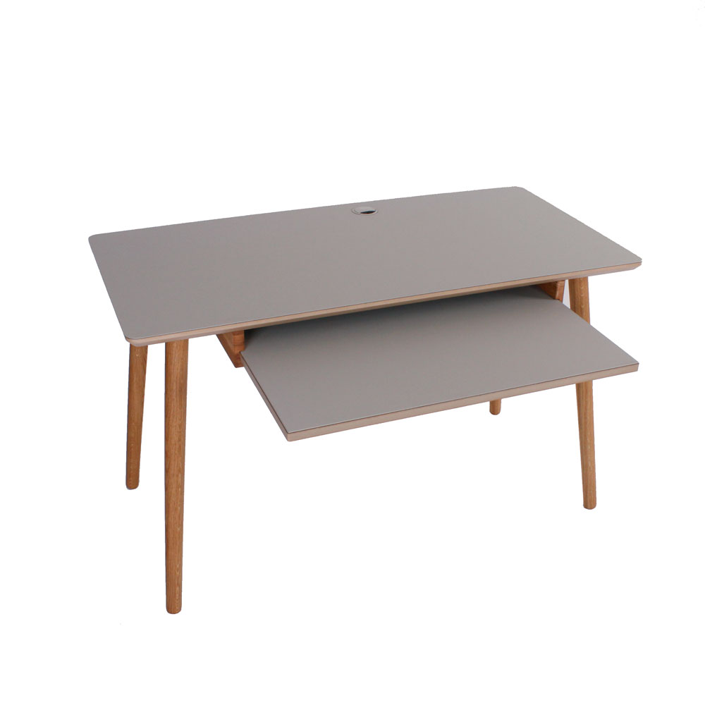 By tika huston skrivebord - grå/naturfarvet mdf træ, m. tastatur, rektangulær og kvadratisk, (72x120cm)