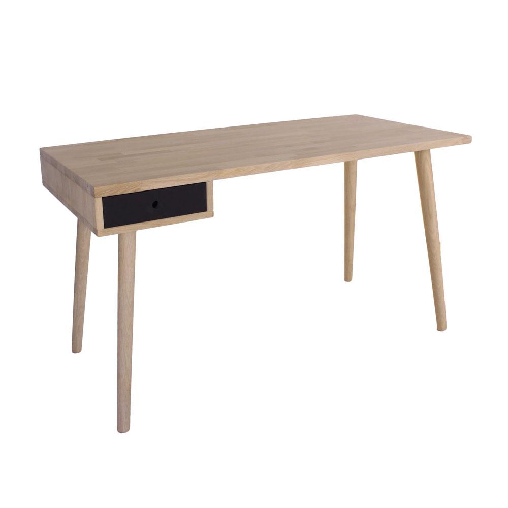 By tika denver skrivebord - naturfarvet egetræ, m. 1 skuffe, rektangulær, (72x130cm)