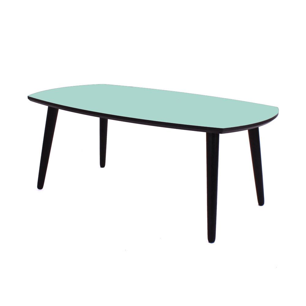 By tika nantes sofabord - grøn/sortfarvet træ, oval/bådformet, (50x60x100cm)