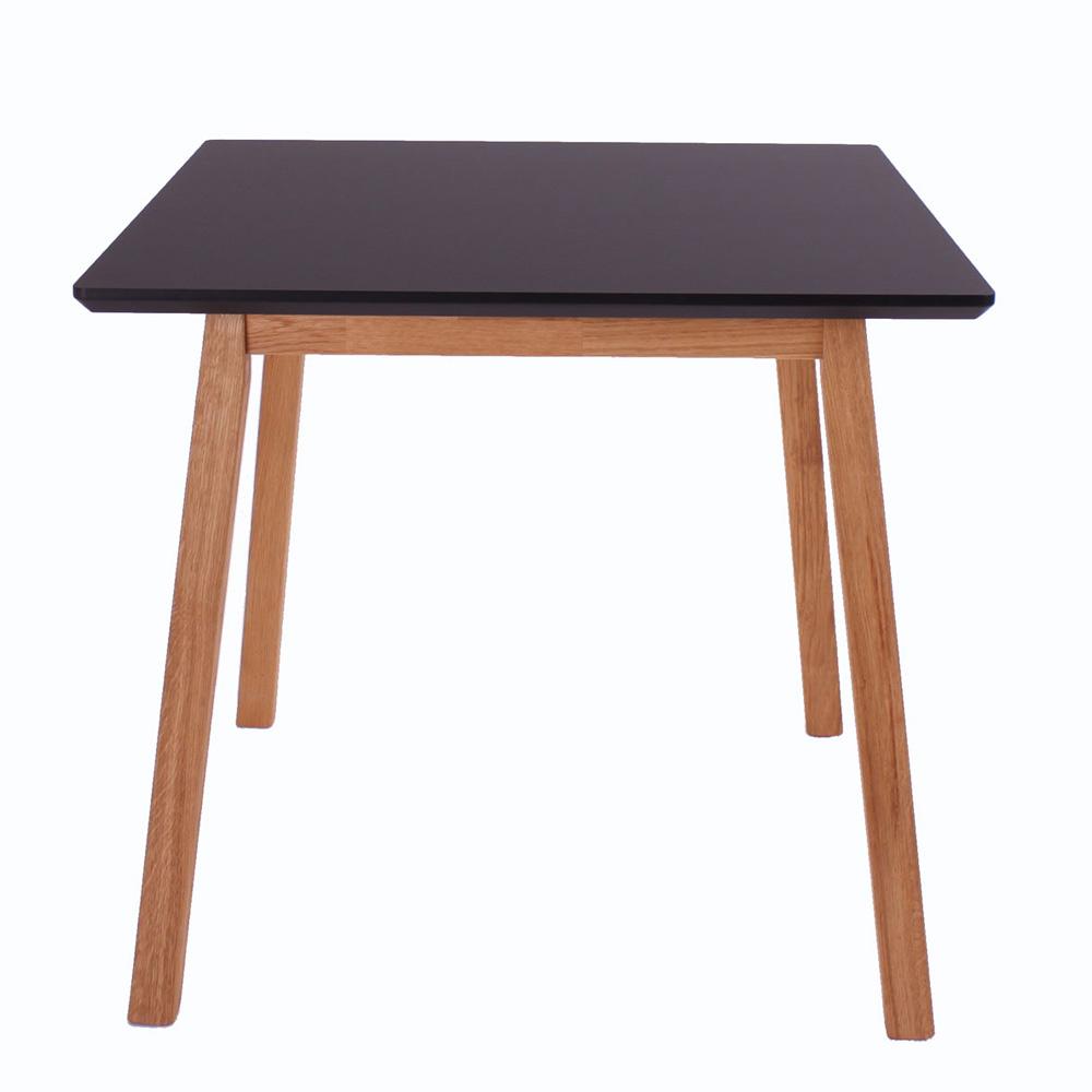 By tika larvik spisebord -sort/naturfarvet træ, sort nano og massiv eg, kvadratisk, (73x80x80cm)