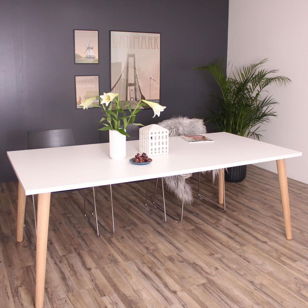 by tika By tika sandefjord spisebord - hvid/naturfarvet træ, hvid laminat, rektangulær, (73x200x100cm) på boboonline.dk