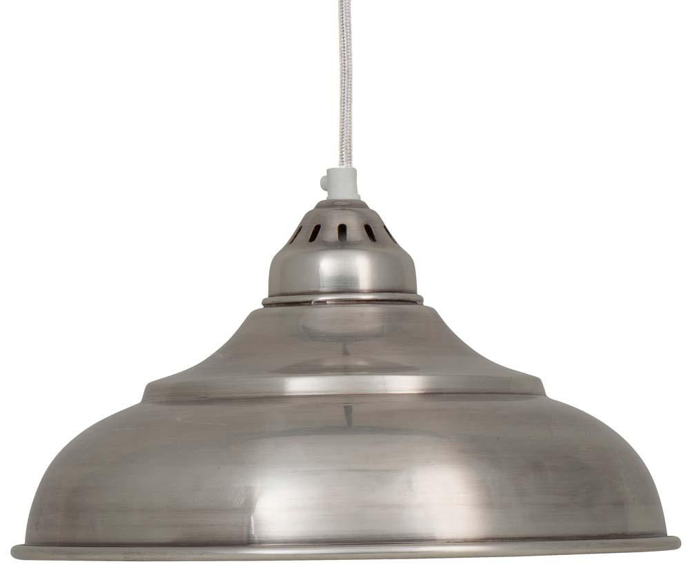 Billede af Ib Laursen Hængelampe ant. sølv finish hvid stofledning