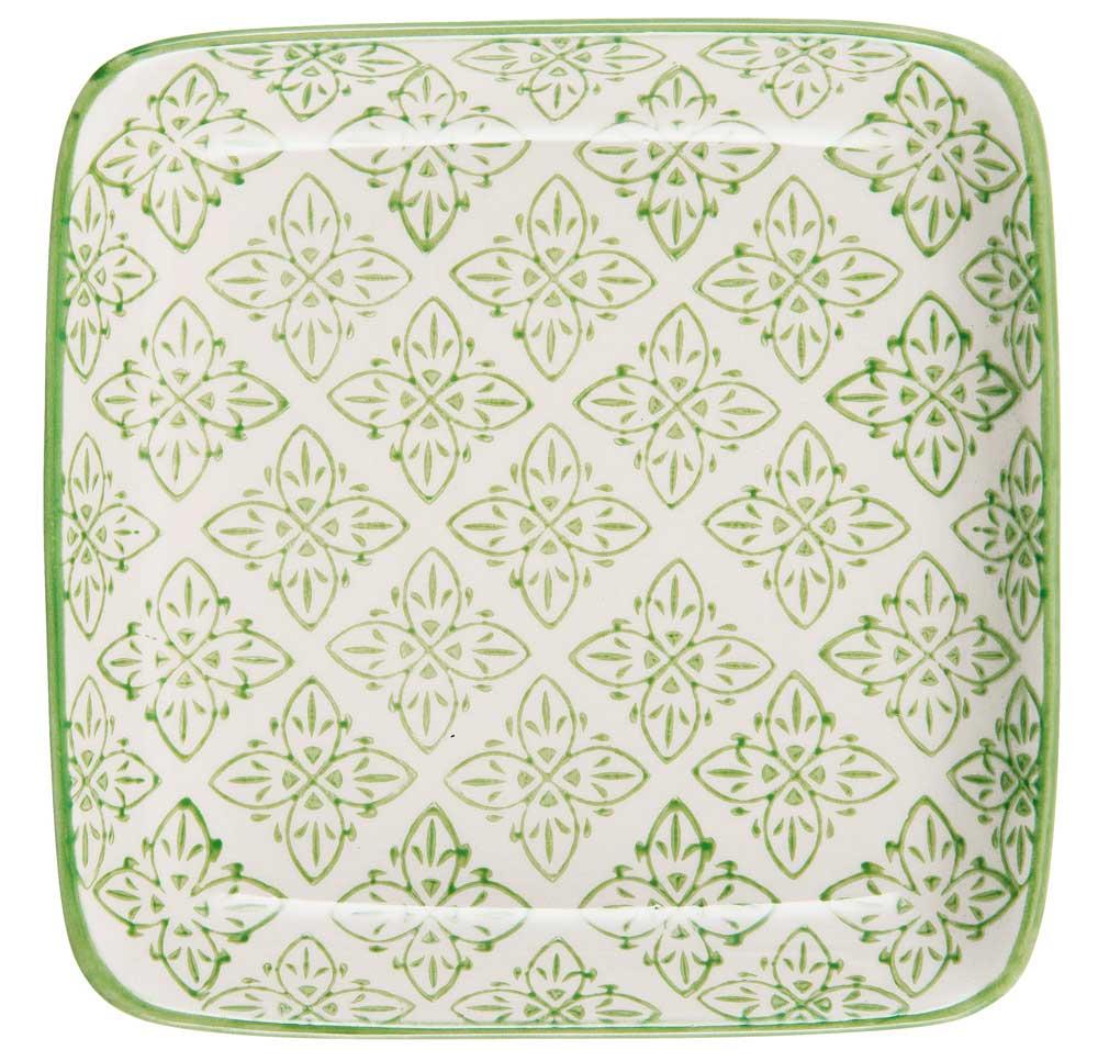 Ib laursen tallerken mini casablanca - grøn/hvid stentøj fra ib laursen på boboonline.dk
