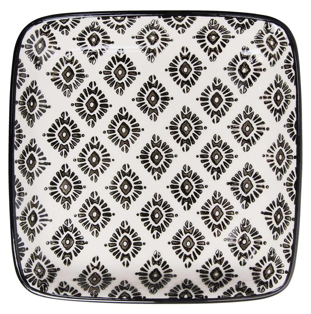Ib laursen tallerken mini casablanca - hvid/sort stentøj fra ib laursen på boboonline.dk