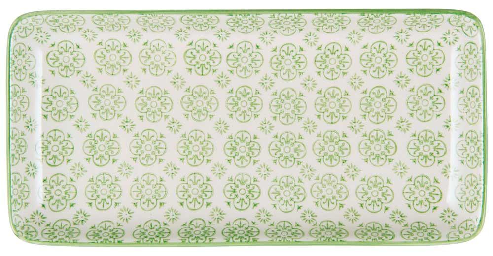 ib laursen – Ib laursen fad casablanca - grøn/hvid stentøj, (3x13cm) fra boboonline.dk