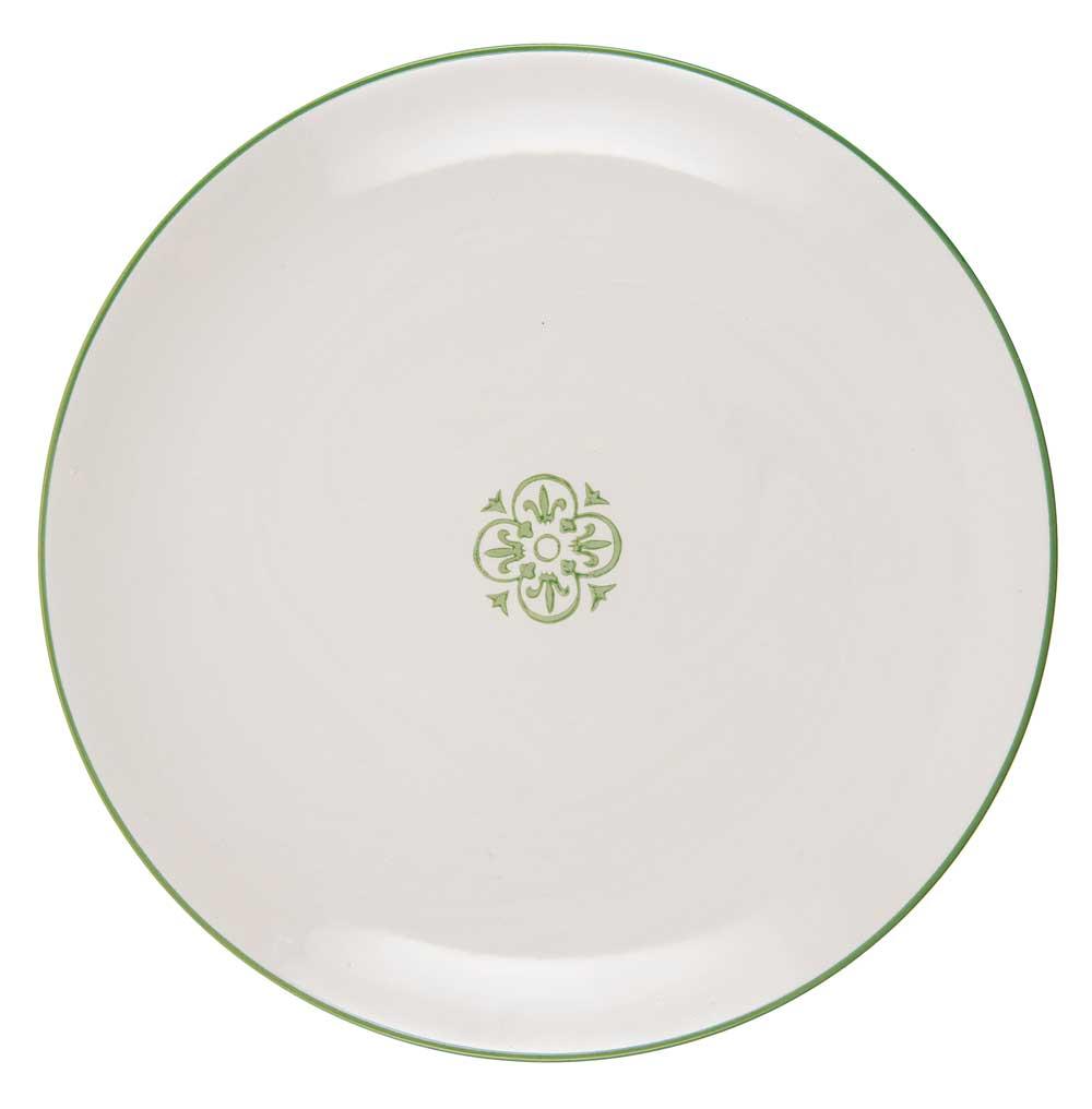 Ib laursen tallerken rund casablanca - grøn/hvid stentøj fra ib laursen på boboonline.dk
