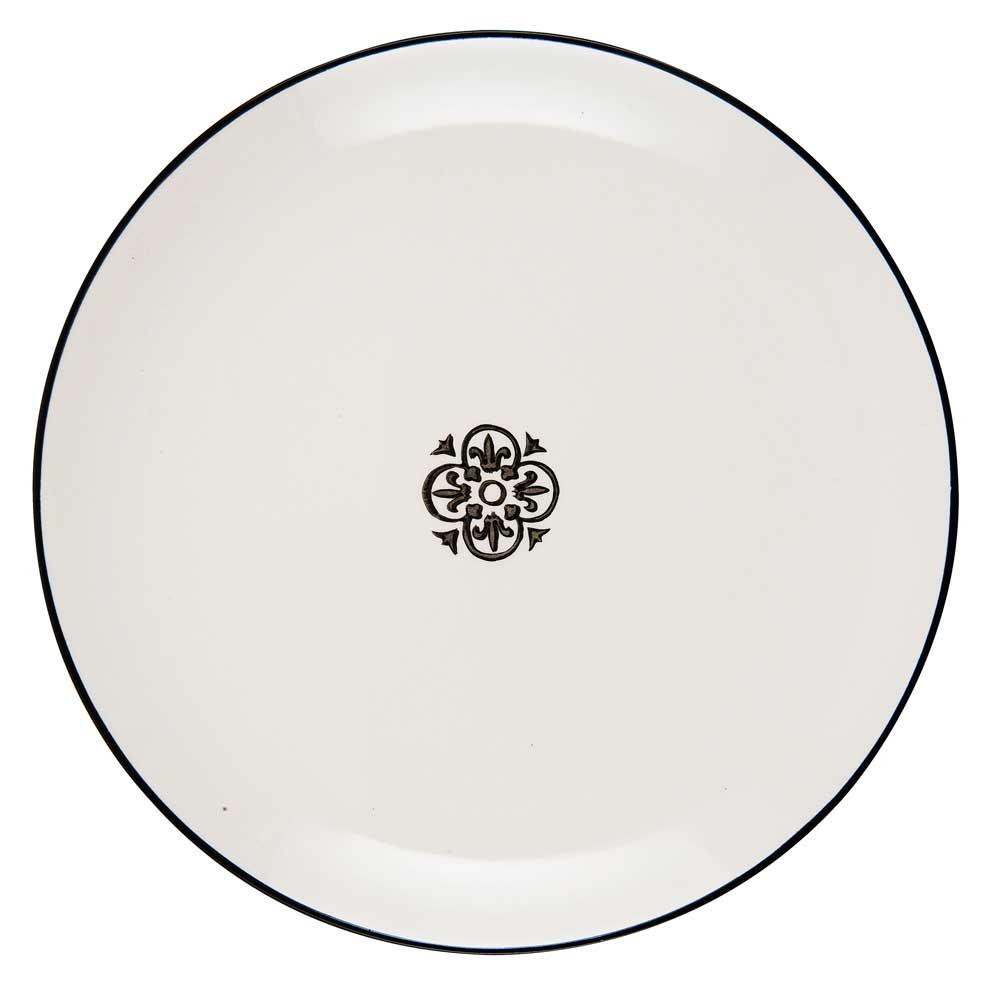Ib laursen tallerken rund casablanca - hvid/sort stentøj fra ib laursen fra boboonline.dk