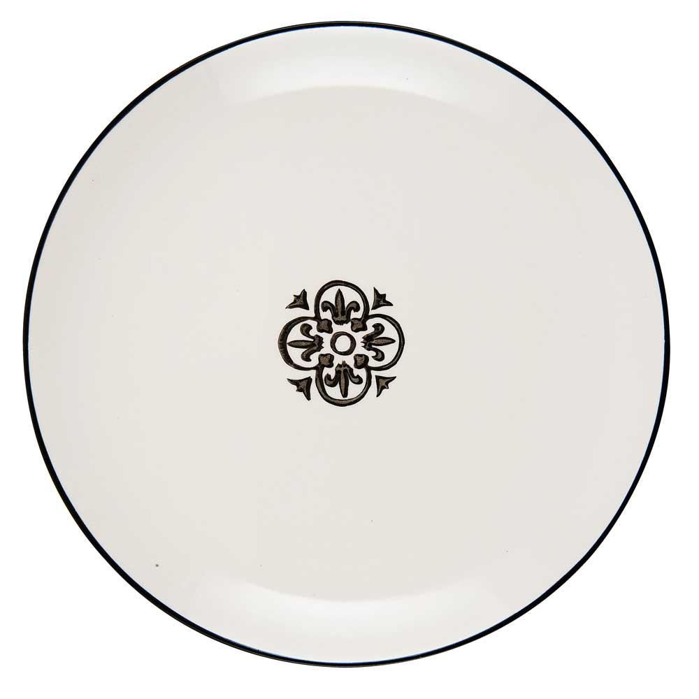 IB LAURSEN frokosttallerken Casblanca - hvid/sort stentøj thumbnail
