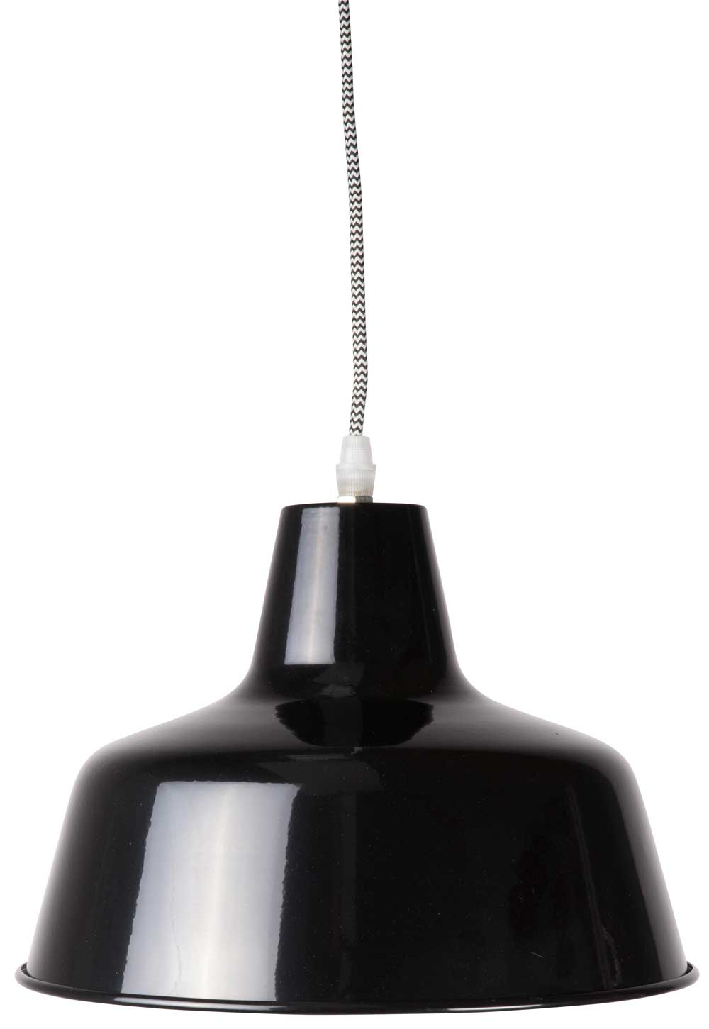Billede af Ib Laursen Hængelampe metal Mynte sort/hvid tekstil ledning