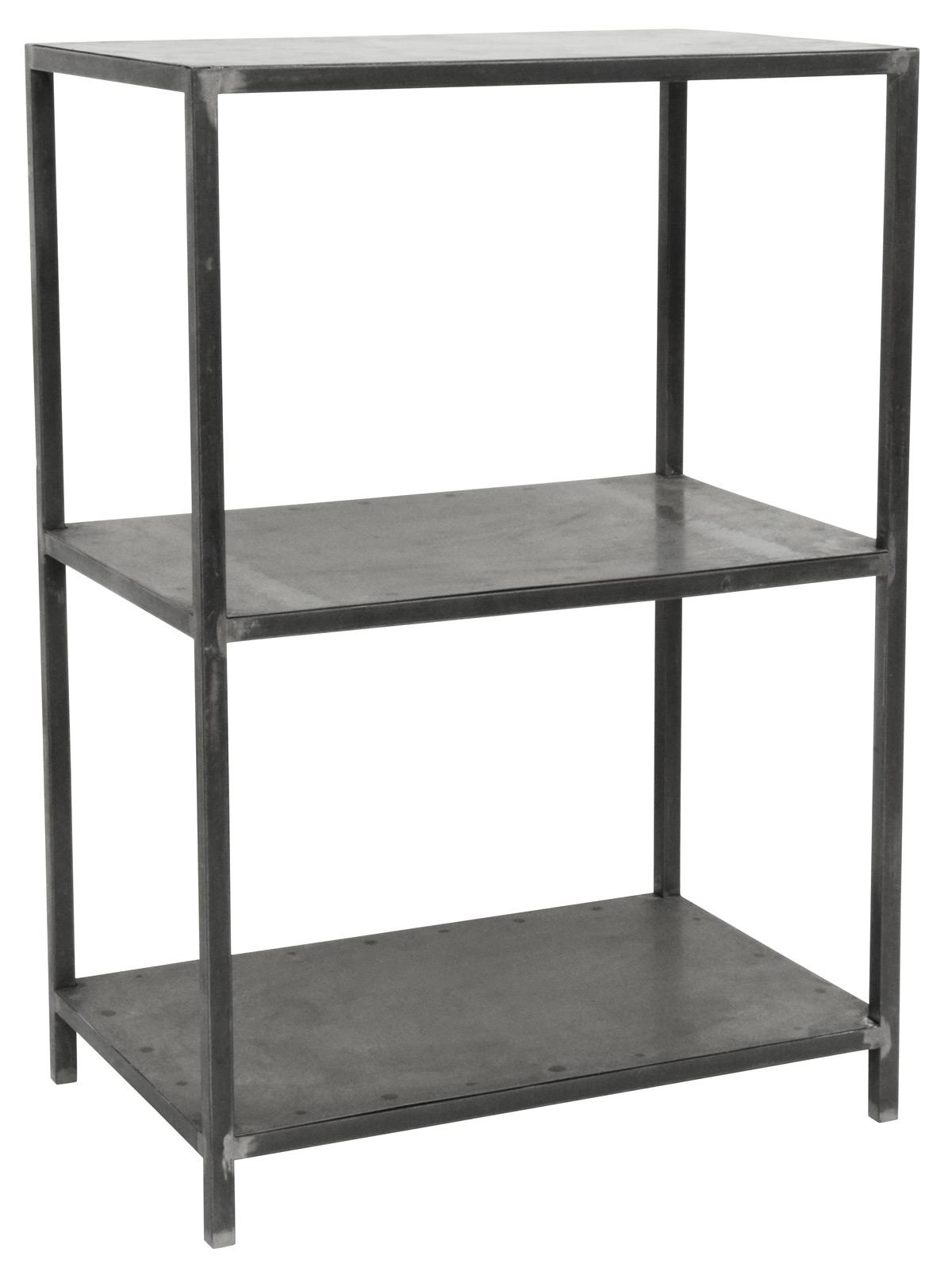 Ib laursen reol - grå metal, factory style, 2 hylder og 2 rum, max 10 kg pr. hylde, (90x40cm)