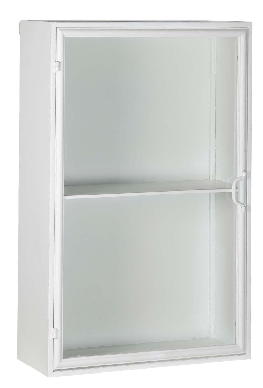 ib laursen Ib laursen brooklyn vægskab - hvid glas og metal, 1 hylde, u. beslag (køb til vægtype), (90x26cm) på boboonline.dk