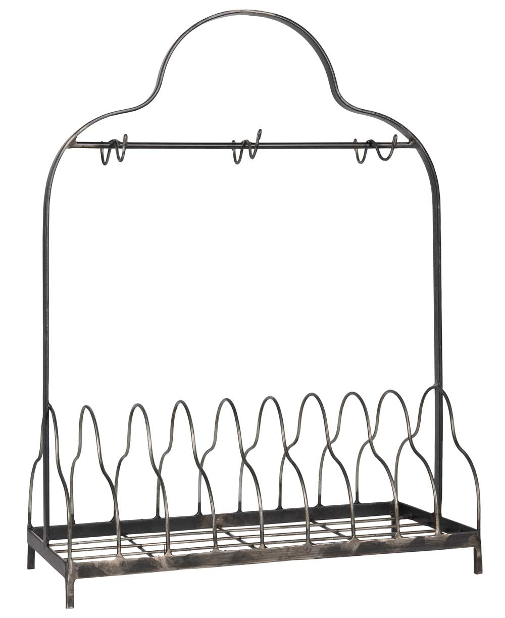 ib laursen – Ib laursen tallerkenholder - grå metal, m. 6 kroge, passer til 9 tallerkner, (54x21cm) på boboonline.dk