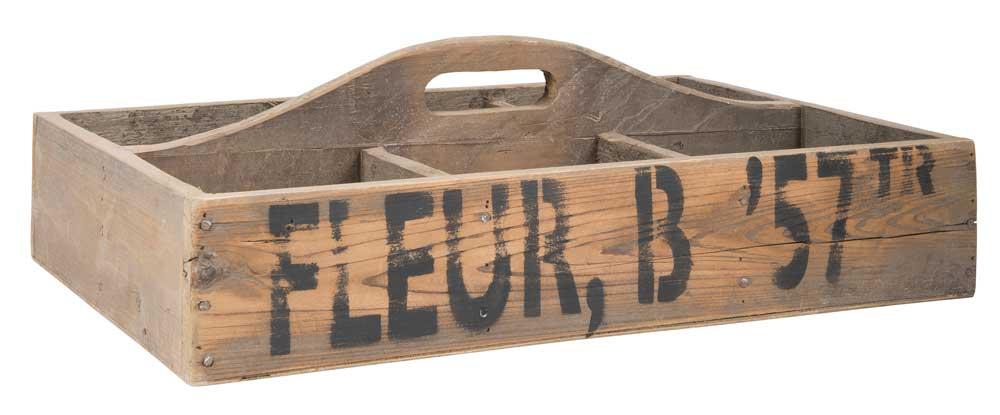 Ib laursen kasse - brun træ, m. 6rum, greb i midt og tekst, (11x37cm) fra ib laursen på boboonline.dk