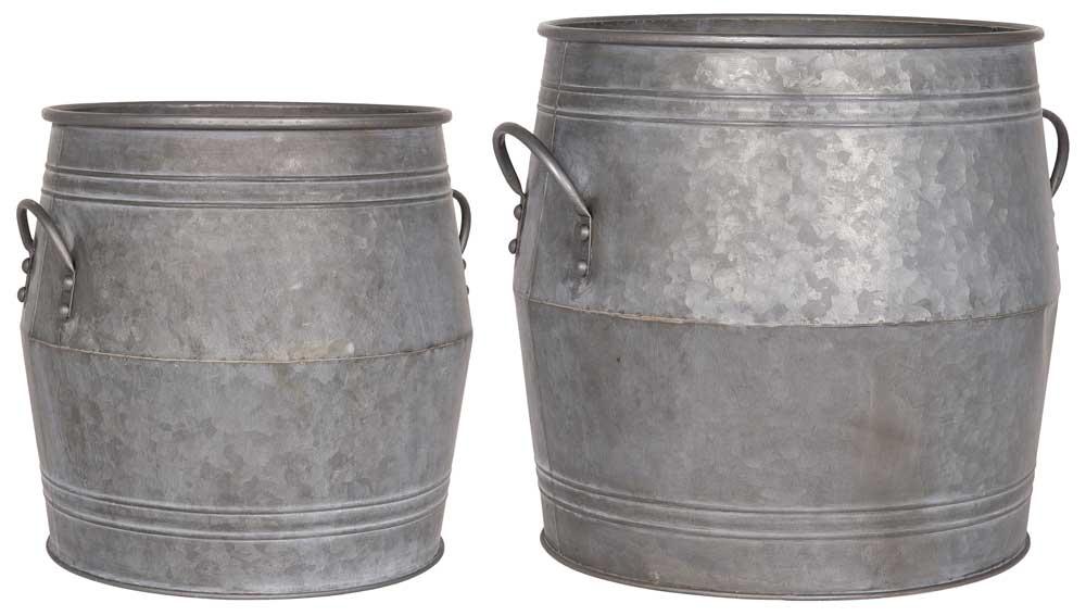 Ib laursen baljesæt - grå metal, a 2, stor, m. hank, rund, (43x42cm)