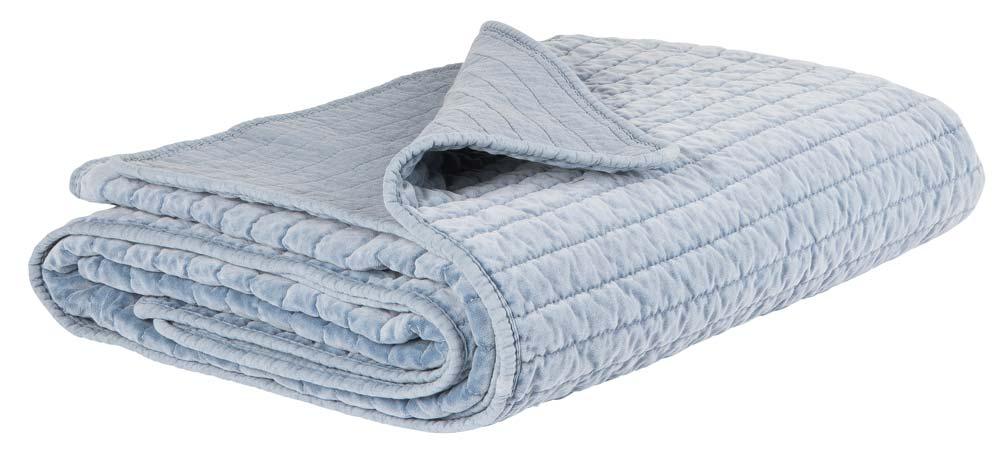 IB LAURSEN Quilt sengetæppe - Blå velour