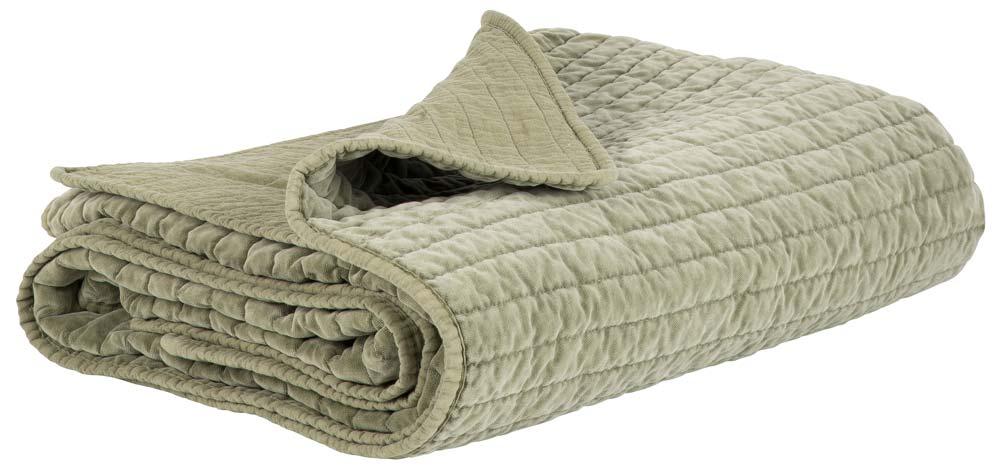 IB LAURSEN Quilt sengetæppe - Olivenfarvet velour