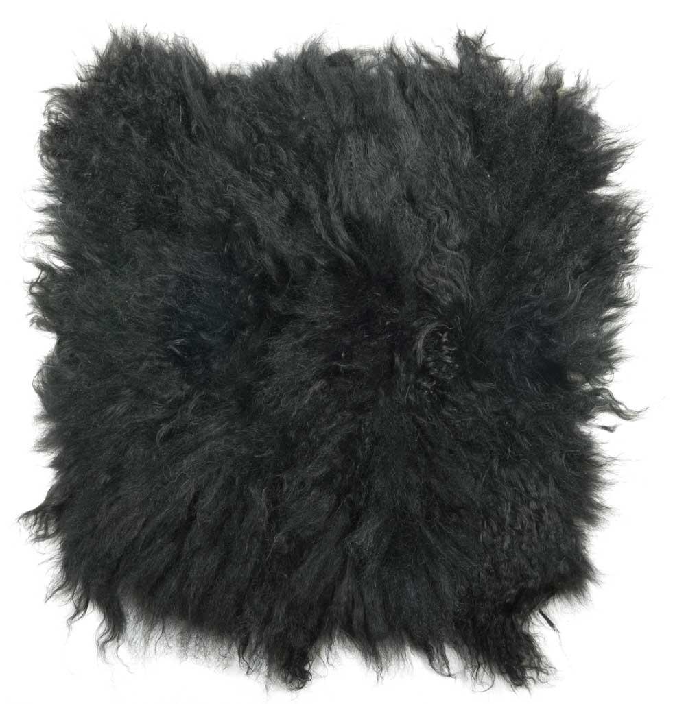 Image of   IB LAURSEN Tibetansk sædeskind - grå skind, sammensyet af skindrester, kvadratisk, (40x40cm)