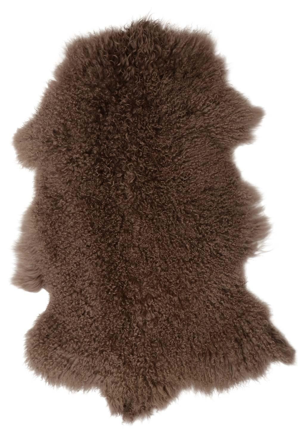 Ib laursen tibetansk lammeskind - brunfarvet lammeskind, asymmetrisk, (90x50cm) fra ib laursen på boboonline.dk