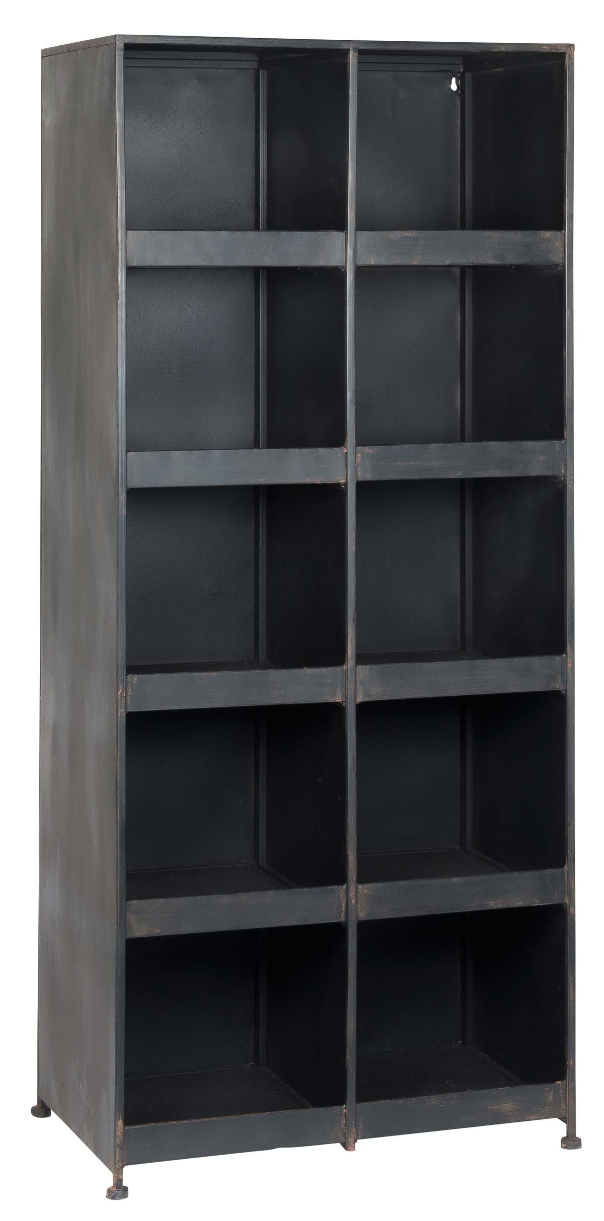 Image of   IB LAURSEN reol - grå metal, m. 10 rum og 8 hylder, (129x35cm)