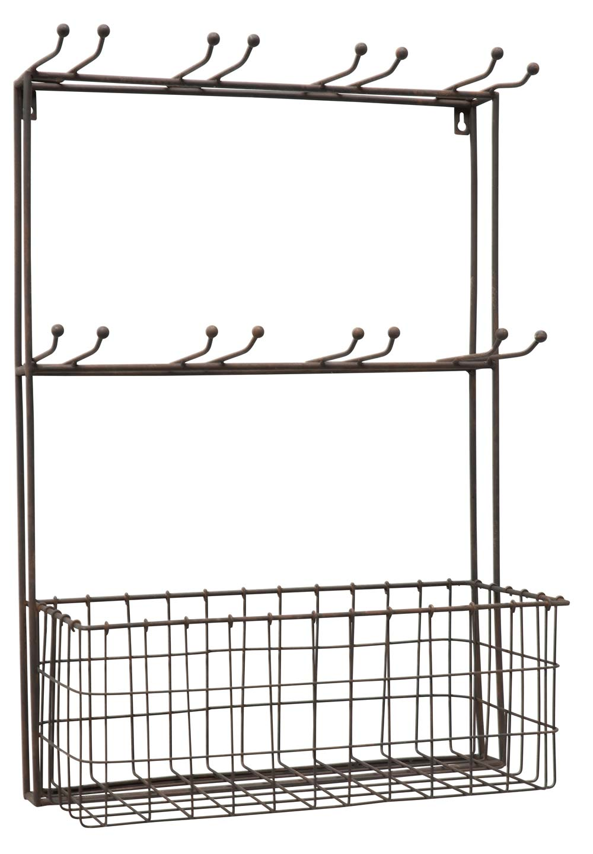 Ib laursen vægstativ - grå metal, til 8 glas, m. kurv, 2 hylder, (62x20cm)